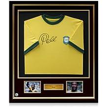 Pelé Firmado Brasil 1970 camiseta, de lujo enmarcado
