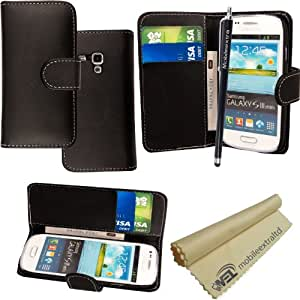 For Samsung Galaxy S3 Mini i8190 Plain Black Book Type PU Leather Magnetic Wallet Flip Case Cover + Stylus + Screen Guard