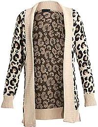 (womens leopard knitted drape cardigan)(me) frauen leopard gestrickt Strickjacke (40/42 (uk 12/14), (stone) stein)