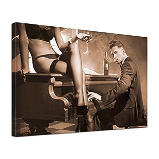 AWS-Werbetechnik Leinwandbild Bilder Erotik Sexy Piano Bar Schwarz/Weiß, Sepia oder Color (Sepia, 80 x 60 cm)