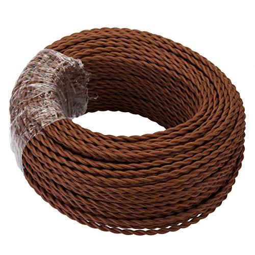 GreenSun LED Lighting 10 Meter Cable Textil Electrico, Cables de Revestimiento Cables Trenzados Vintage Cables de Alimentación con Conductor de Protección 2x0.75mm² Trenza Simple, Marrón