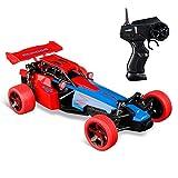 Virhuck 1:24 RC Auto con 2 Batterie, 2.4 Ghz Telecomando Radio 2WD Alta Velocità 15KM / H Fast Beast RTR Elettrica Fast Macchina da Corsa per Bambini - rosso