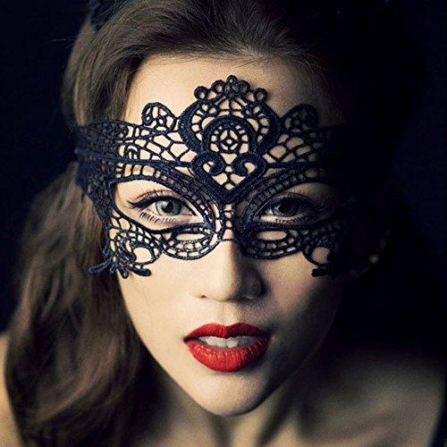 YPSelected Damen Spitze sexy venezianischen Maskenspiel Karneval Party Ball Gesicht Augenmaske (#1 Black) (Halloween Gesicht Damen Malen)