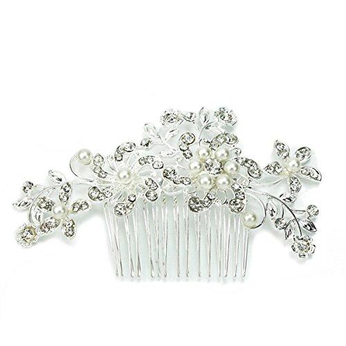 VORCOOL zart charmante Damen Braut Hochzeit Crystal Strass Perlen dekor Blume Stil Haar Kamm Clip Hair Pin Haar Accessoire (Silber)