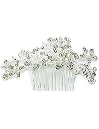 Unidades VORCOOL encantadora novia boda Crystal brillantes perlas decoración flor diseño peine Clip Hair Pin pelo accesorio (plata)