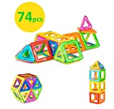 Magnetic Shapes HomeAlone Magnet Shape Brainy Building Blocks Set 74pcs for Kids Boys Girls Toddlers with Ferris Wheel