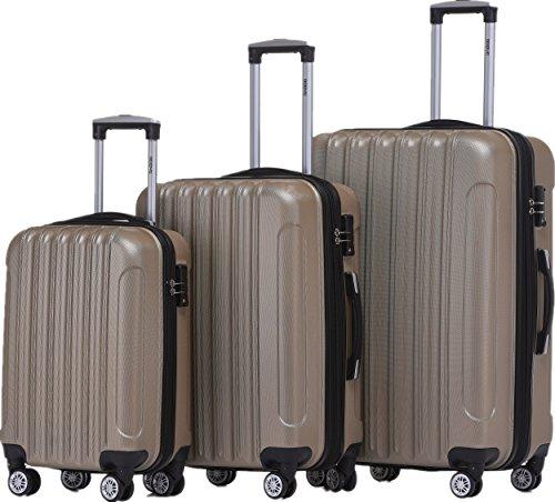 BEIBYE Zwillingsrollen 2050 Hartschale Trolley Koffer Reisekoffer in M-L-XL-Set in 12 Farben (Champagner, Kofferset+TSA Schloß)