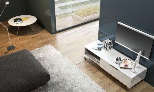 LC spa Sola Banc TV avec 1 klapptüre, 128 x 31 x 44,50 cm Blanc Brillant