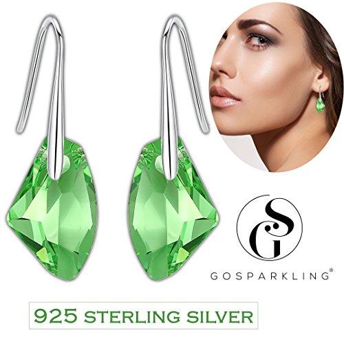 Ohrringe Swarovski- 925 Sterling Silber Tropfen Ohrringe Für Frauen Mit Peridot Kristall von Swarovski Von GoSparkling: BRAND NEUES Design, Schmuck Ohrringe Baumeln