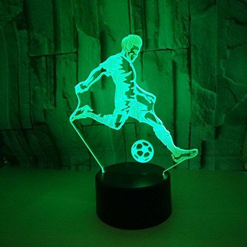 SSYYJJ 3D Ilusión óptica Lámpara Luz de Noche de Escritorio LED dormitorio para los niños y regalo de Navidad USB Futbolista