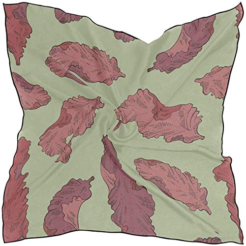 Frauen weichen Polyester quadratischen Schal Seetang Wasser Bio-Lebensmittel grünes Meer Mode Druck Kopf Haar Schal Halstuch Schals Zubehör 23.6x23.6 Zoll mehrere Arten des Tragens täglichen Dekor
