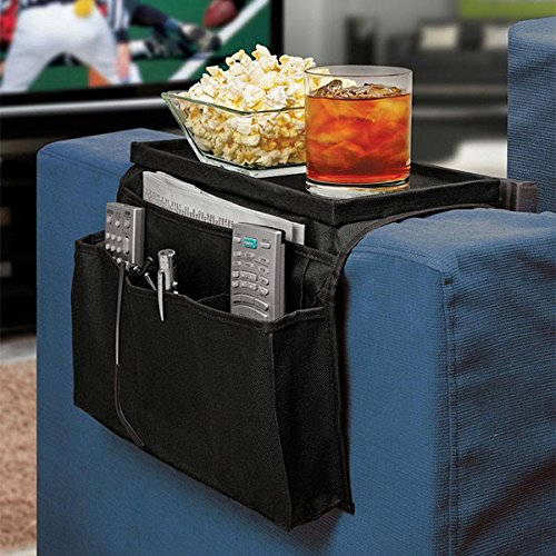 OUNONA Armrests organizer, sofa butler with integrated tray, 6 pockets, foldable, polyester