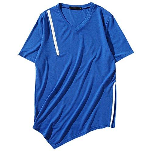 Männer Hipster Hip Hop Hoodie Seitenreißverschluss T-Shirt Männlich Einfarbig V-Ausschnitt Kurzarm T-Shirt (Chaps Polo Herren)