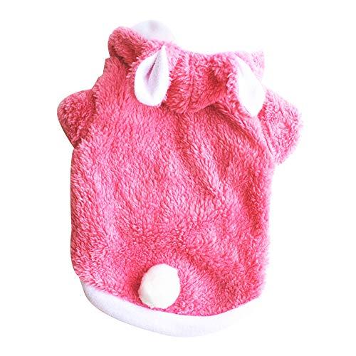 CricTeQleap Haustier Hund Welpen Warme Mantel Winter Kleidung Weihnachten Mit Kapuze Kaninchen Kostüm Dicke Kawaii Pink M