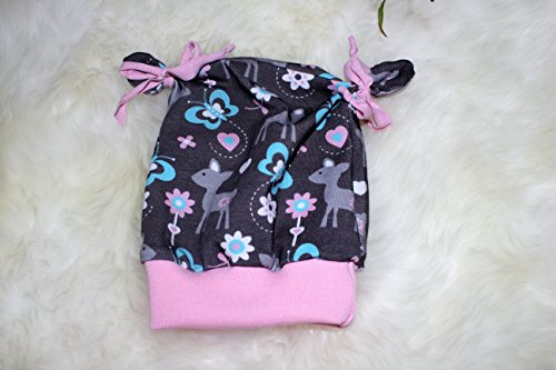 Kinder Mütze Beanie Knotenmütze Babymütze ca. 36-40 cm Rehe Rehkitz rosa-grau