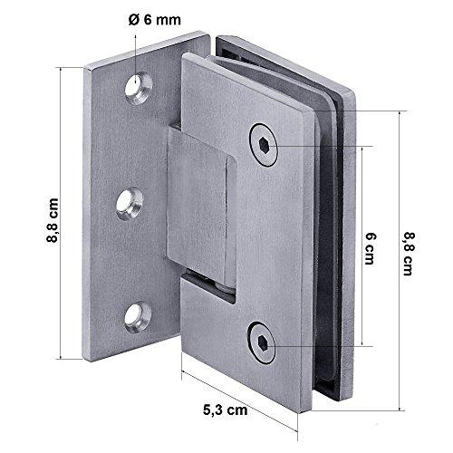 1 Charnière 90° Douche En Verre Porte Acier Inoxydable Montage Mural Salle De Bain Surface Mat Massif + Accessoires