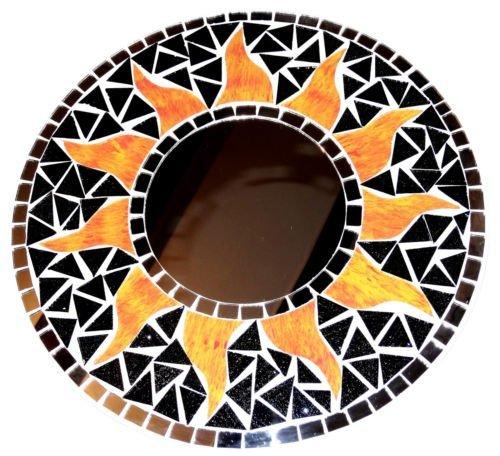 Mosaico-Espejo-sol-hielo-30-cm-Craft-de-madera-con-mosaico-Espejo-Sol-mosaico-negro-amarillo
