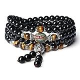 coai Bracelet Multi-Tours Collier Mala 108 Perles Bouddhistes Pierres Semi-Précieuses Onyx Noir Œil de tigre Jaune Perle Népale Unisexe Cadeau Idéal