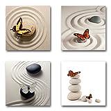 Schmetterlinge - Set C schwebend, 4-teiliges Bilder-Set je Teil 29x29cm, Seidenmatte moderne Optik auf Forex, UV-stabil, wasserfest, Kunstdruck für Büro, Wohnzimmer, XXL Deko Bild