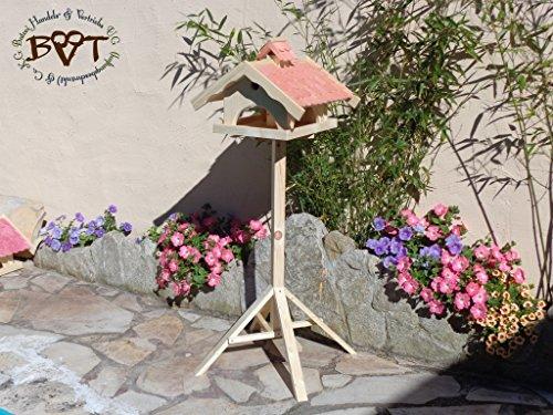 vogelhaus mit ständer,groß,mit Nistkasten + BEL-X-VONI5-MS-rot002 Robustes, stabiles wetterfestes PREMIUM Vogelhaus VOGELFUTTERHAUS + Nistkasten 100% KOMBI MIT NISTHILFE für Vögel KOMPLETT mit Ständer wetterfest lasiert, FUTTERHAUS für Vögel, WINTERFEST - MIT FUTTERSCHACHT Futtervorrat, Vogelfutter-Station Farbe Rot lachsrot behandelt , weinrot hellrot knallrot, MIT TIEFEM WETTERSCHUTZ-DACH für trockenes Futter, Schreinerarbeit aus Vollholz -