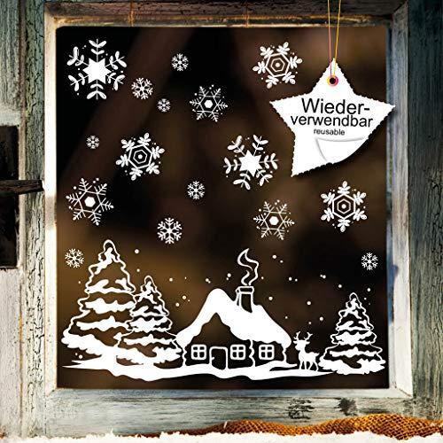 Fenstersticker Häuschen mit REH und Winterlandschaft WIEDERVERWENDBAR -