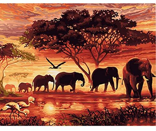 WACYDSD Puzzle 3D Puzzle 1000 Piezas Elefantes Paisaje DIY Arte Moderno De...