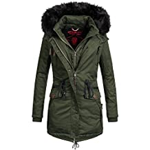 Marikoo Damen Winter Jacke Mantel Winterjacke warm gefüttert Wintermantel  Parka Baumwoll Double Zipper Rose50 XS- 2b17549f65