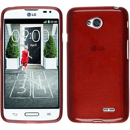 PhoneNatic Funda de silicona para LG L70 - brushed rojo - Cover Cubierta + protector de pantalla
