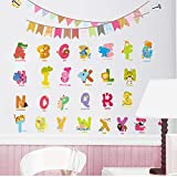 2016 Tier Zeichen Buchstaben Wandaufkleber Flagge Kindergarten Kinderzimmer Geburtstag Dekoration Englisch Wandtattoos Alphabet Logo Geschenk 30X90 cm