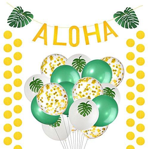 FEPITO 20 Piezas Aloha Hawaiano Tropical Decoración del Partido de Luau Incluye Oro Reluciente Aloha Hojas Verdes Bandera Guirnalda con Puntos del Círculo de Oro Garland y Globos Tropicales