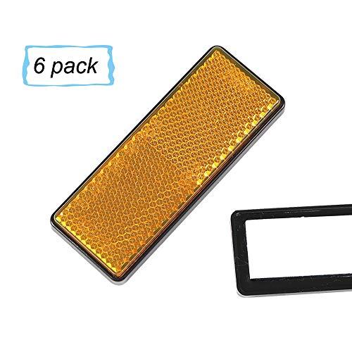 Rechteckiger Reflektor (AOHEWEI 6 x Rückstrahler Selbstklebend Gelb Seitenstrahler KatzenaugenReflektoren Rechteckig zum Aufkleben Sicherheit hinten Reflektierend für ZaunpfostenAnhänger Wohnwagen ECE - zulassung (gelb))