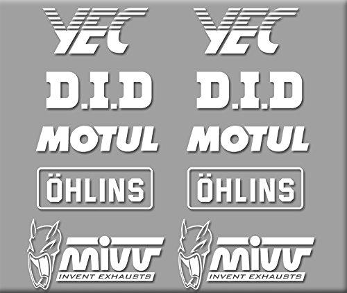 Preisvergleich Produktbild PEGATINAS SPONSORS MOTO GP R324 STICKERS AUFKLEBER DECALS AUTOCOLLANTS ADESIVI YEC OHLINS BLANCO