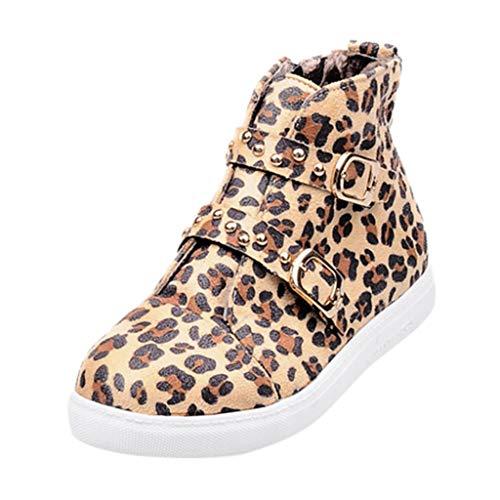 feiXIANG Damen Leopardenmuster Stiefel Kurze Flache Sneaker Frauen Winterstiefel sportlich Laufschuhe (Gelb,36) -