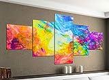 Leinwandbild 5 tlg. 200cmx100cm abstrakt Kunst bunte Farben Bilder Druck auf Leinwand Bild...