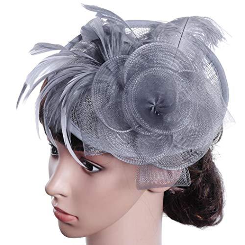 Net Feather Fascinator Big Stirnband Clip Hochzeit Braut Tea Party Church Hat -