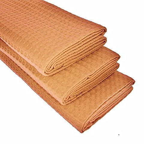 3x TEA TOWELS 100% COTTON WAFFLE Pique Light Gold/Brown