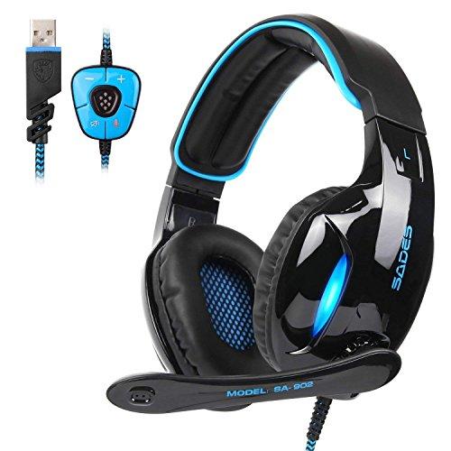 SADES SA902 Blau 7.1 Kanal Virtuelles USB Surround Stereo Verkabelt PC Gaming Headset Over Ear Kopfhörer Gaming mit Mikrofon Revolution Lautstärkeregler Rauschen Abbrechen LED Licht (Schwarz/Blau)