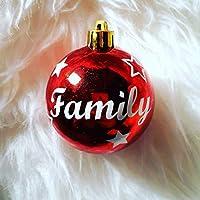 1 Weihnachtskugel personalisiert mit Namen und Sterne in rot