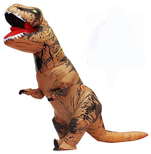 aufblasbare T Rex Dinosaurier-Partei-Kostüm Lustige Kleid Braun und USB-Kabel (Kostenloser Versand Kostüm)