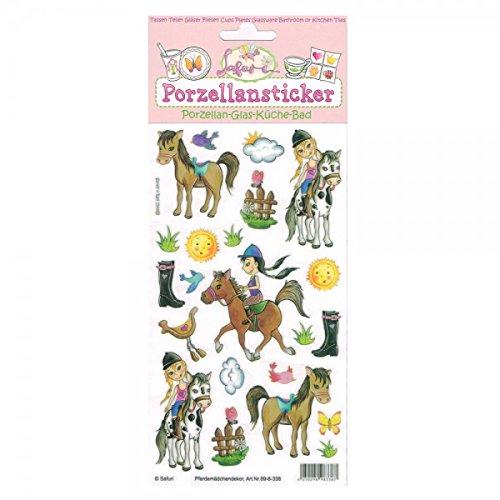 Porzellansticker, Porzellandekor,Pferdemädchen, klebt auf Porzellan, Fliesen, Glas, glatten Oberflächen - Porzellan-fliesen