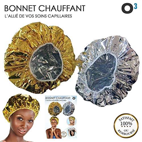 O³ Bonnet Chauffant Pour Soins Capillaires-2 Bonnet Auto Chauffant Cheveux pour Masque-Charlotte auto chauffante : 1 Gold & 1 Sil