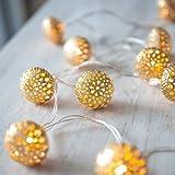10er LED Lichterkette goldene Kugeln batteriebetrieben
