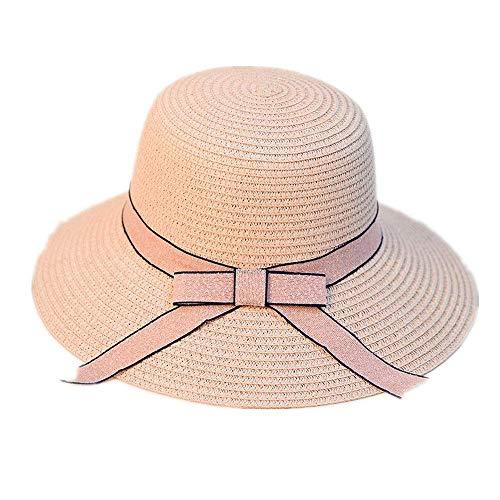 Strohhut Sonnenhut Faltbarer Sombrero Sommer Strandhut Schleifenband Sonnenhüte (Farbe: Pink, Größe: Einheitsgröße) ()