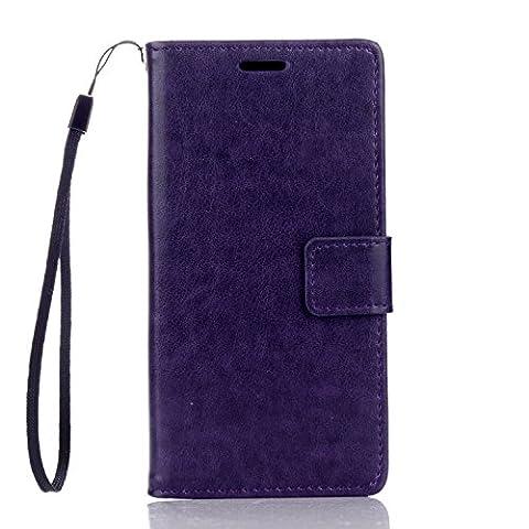 Cozy hut Huawei Honor 5C Hülle Purple,Reine Farbe Premium PU Leder Wallet Case Schutzhülle Hülle Handytasche Skin Schale Soft Backcover Handy Tasche Flip Cover Buchstil Klapptasche in Lederoptik mit Standfunktion Karteneinschub und Magnetverschluß Etui Flip Case für Huawei Honor 5C (5,2 Zoll) - Pure Purple