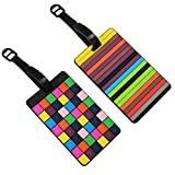 Set Of 2 Coloured Rubber 3D Travel Holiday Luggage Name Tags CUBES & STRIPES