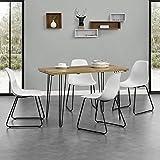 """[en.casa]® Esstisch [Holzfarben] mit Hairpinlegs + 4 x Design-Stuhl """"Porto"""" [Weiß] im Set"""