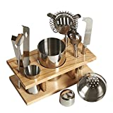 LIVIVO ® Professional 10 Piece Stainless Steel Bar Tool Set with Wooden Display Stand - Includes Cocktail Shaker with Filter and Cap, Strainer, Fruit Knife, Ice Tongs, Beer and Wine Bottle Opener, Muddler, Dual Measure Jigger - Impress your Friends - Create Professional Cocktails at Home