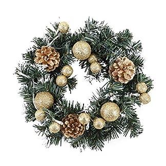 Greyghost Corona de Navidad con batería de luz LED de cadena Puerta delantera Colgante Guirnalda Decoraciones para el hogar de vacaciones