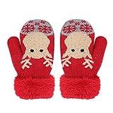 Handschuhe Niedlich unisex Fäustlinge Kleinkinder 1-4 Jahre Mädchen Jungen Verdicke Kinderhandschuhe weich warme Winter Strickhandschuhe mit Plüsch Fleecefutter Babyhandschuhe als Weihnachten Geschenk