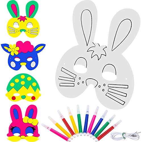 Zhehao 16 Stücke DIY Tier Masken Leere Bunny Malerei Maske Papier Häschen Gläser für Osterfest Party Kostüm mit 10 Stücke Farbe ()